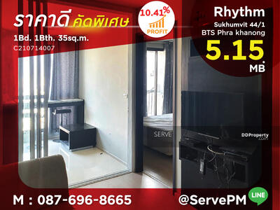 For Sale - Best Deal 5. 15 MB*  1 Bed High Fl. 15+ Next to BTS Phra Khanong 47 m. at Condo Rhythm Sukhumvit 44/1 / Condo For Sale